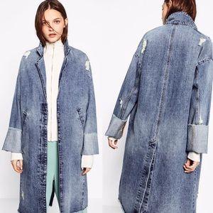 Zara Denimwear Jean Diatressed Trench Coat